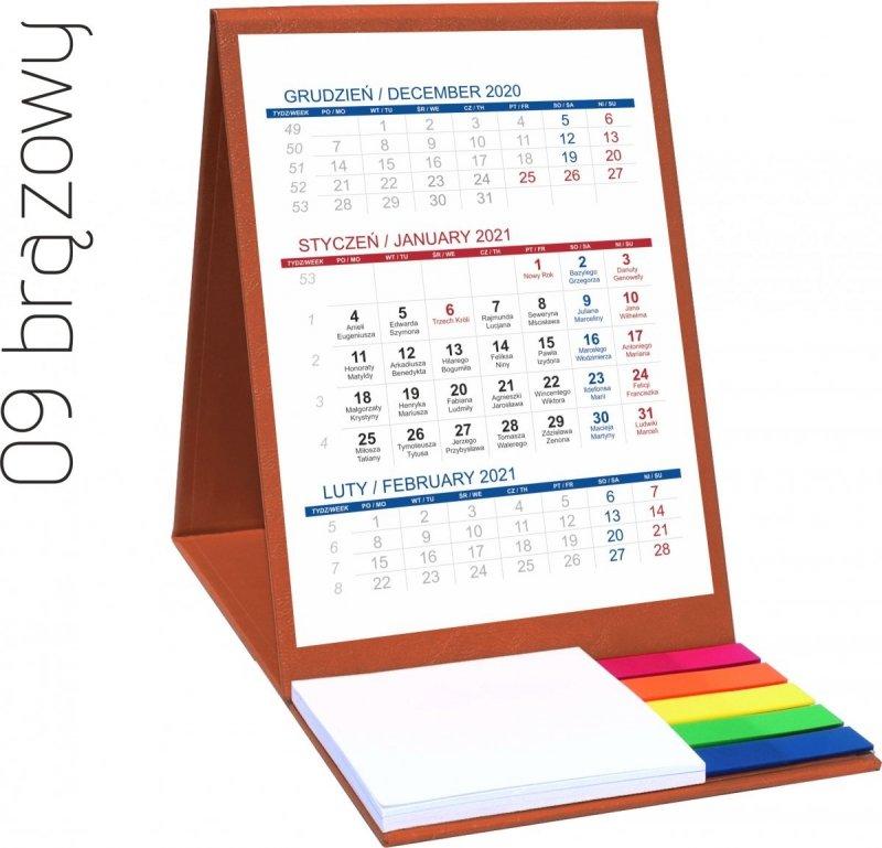 Kalendarz biurkowy z notesem i znacznikami TOP 3-miesięczny 2021 brązowy