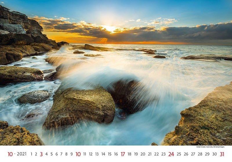 Kalendarz ścienny wieloplanszowy Sea 2021 - październik 2021