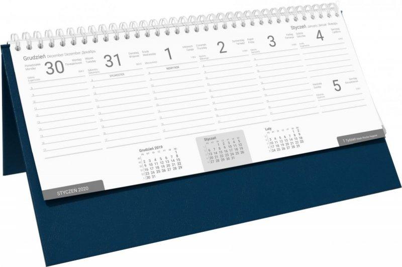 Kalendarz biurkowy stojąco-leżący BUSINESS LINE oprawa Agora kolor granatowy