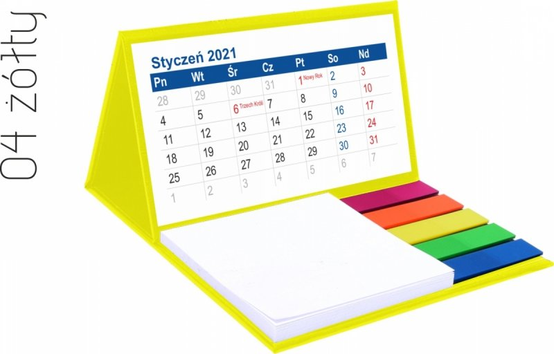Kalendarz biurkowy z notesem i znacznikami MINI 2021 żółty