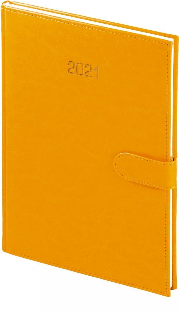 Kalendarz książkowy 2021 A4 tygodniowy papier biały drukowane registry oprawa MAGNESIAN - pomarańczowy oprawa skóropodobna zamykana na magnes