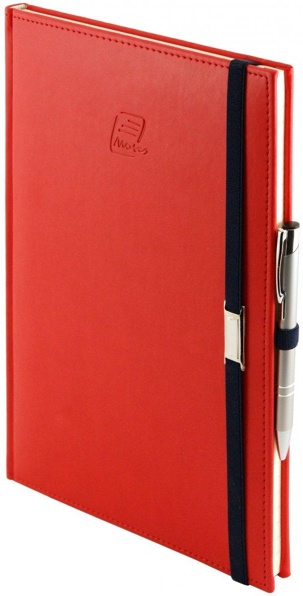 Notes A5 z długopisem zamykany na gumkę z blaszką  oprawa Vivella czerwona - okładka