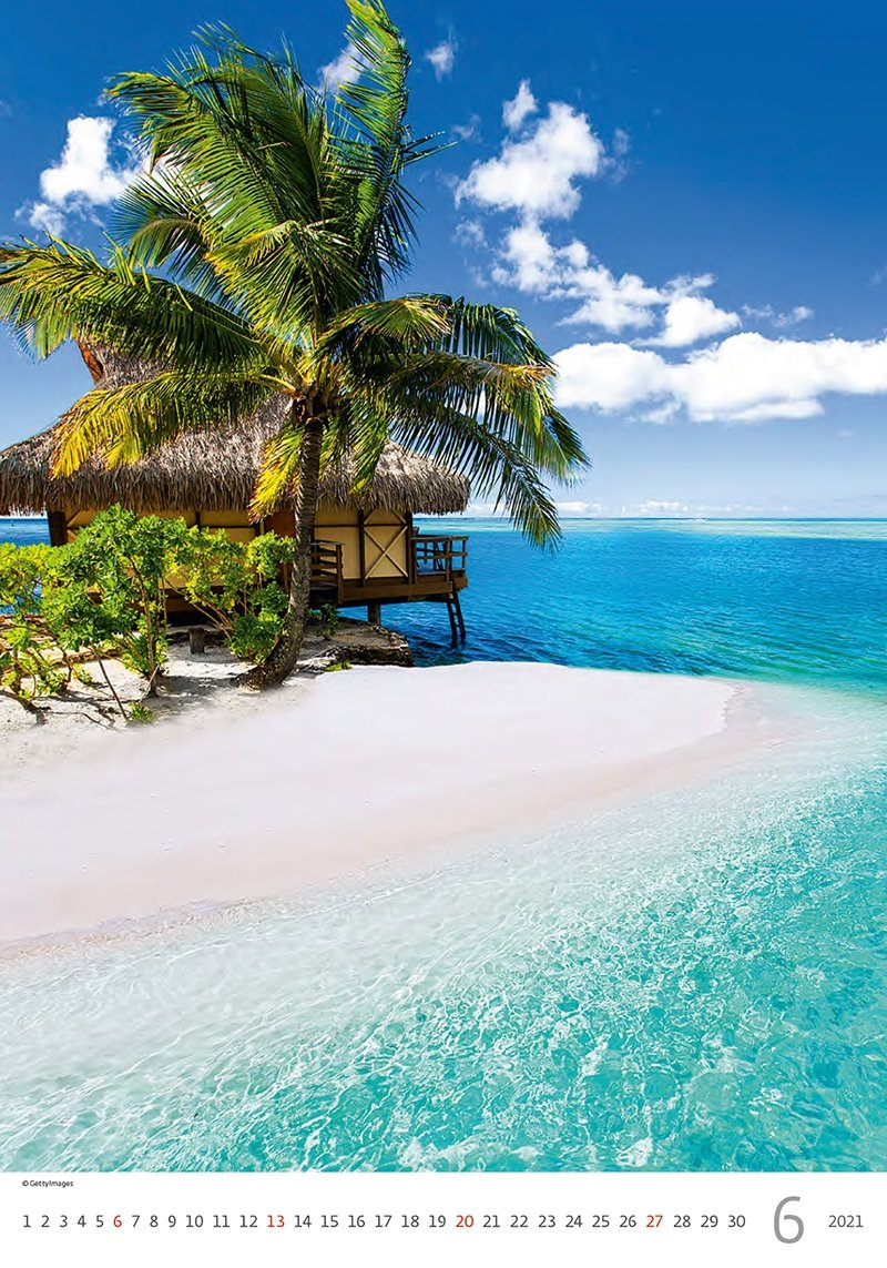 Kalendarz ścienny wieloplanszowy Tropical Beaches 2021 - czerwiec 2021