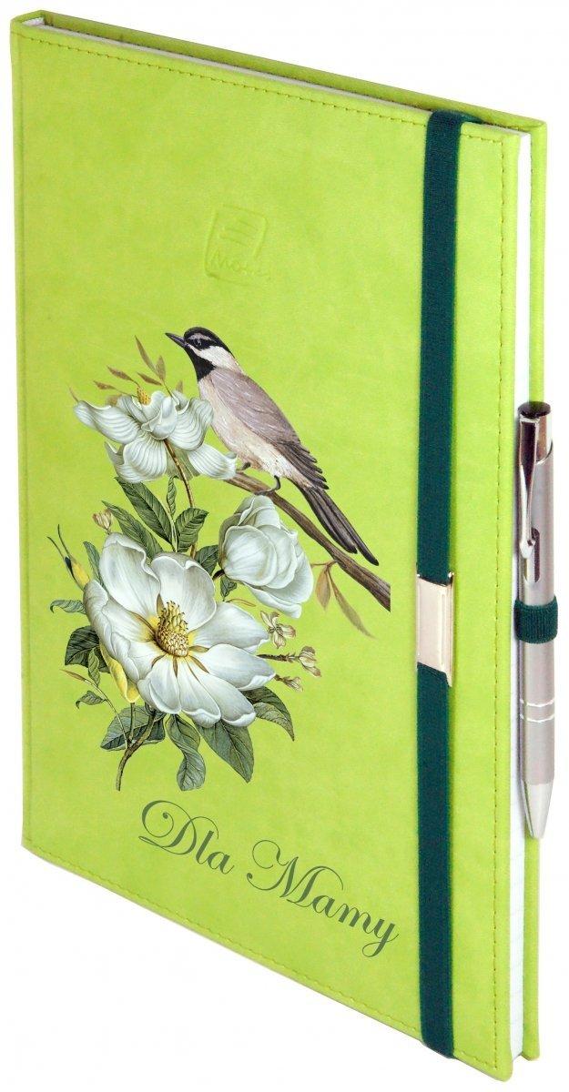 Notes A5 z długopisem zamykany na gumkę z blaszką - papier biały w kratkę - oprawa Vivella seledynowa (gumka zielona) - Z NADRUKIEM NA DZIEŃ MATKI