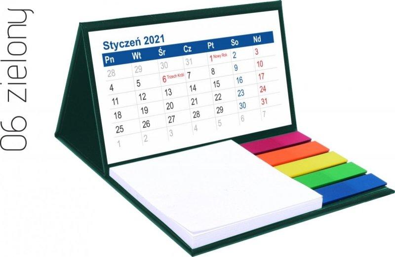 Kalendarz biurkowy z notesem i znacznikami MINI 2021 zielony