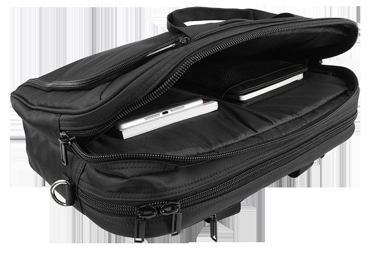 Torba-Plecak na laptop w kolorze czarnym - kieszenie