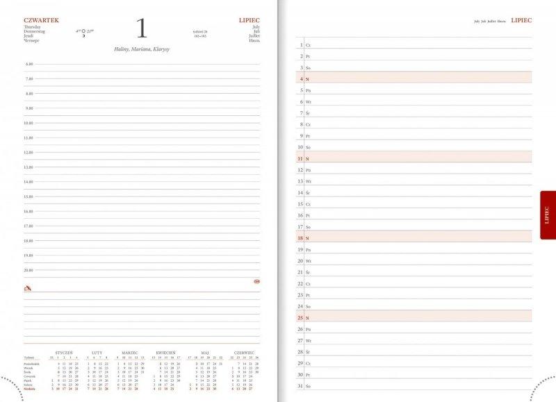 Kalendarz książkowy 2021 A4 dzienny papier biały perforacja