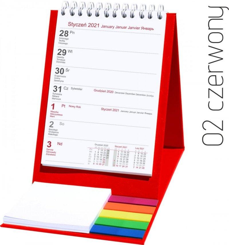 Kalendarz biurkowy z notesem i znacznikami TOP tygodniowy 2021 czerwony