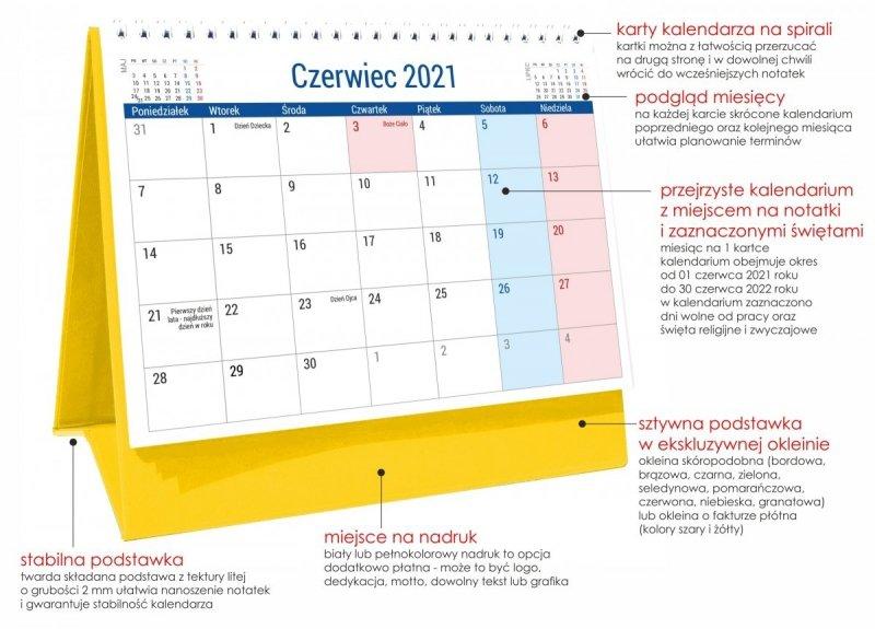 Kalendarz biurkowy PLANO dla uczniów i nauczycieli z podstawką twardą w ekskluzywnej okleinie