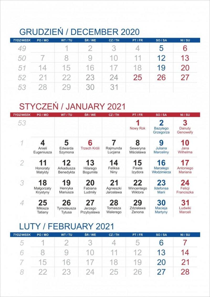 Kalendarz biurkowy stojący PIONOWY 3-MIESIĘCZNY - kalendarium