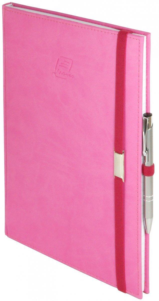 Notes A5 z długopisem zamykany na gumkę z blaszką  oprawa Vivella różowa - okładka
