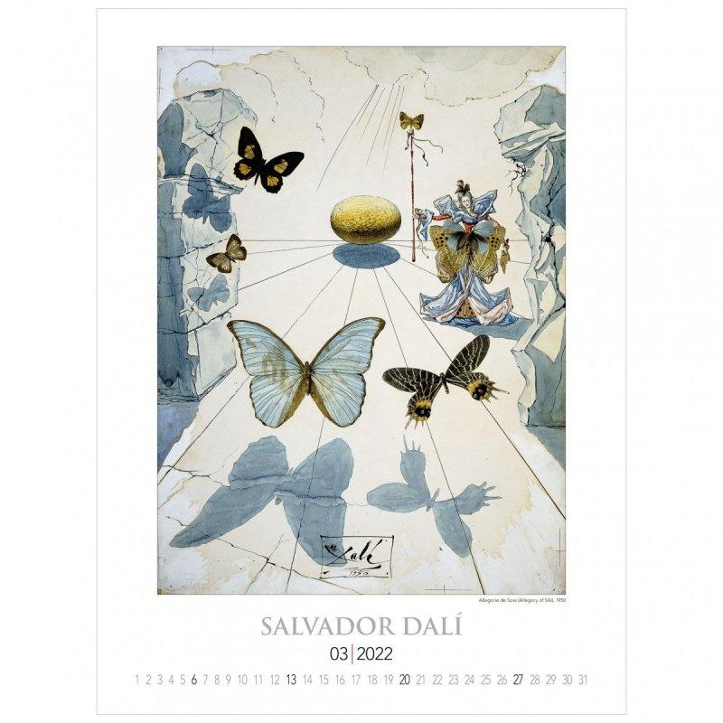 Kalendarza ścienny wieloplanszowy z reprodukcjami obrazów Salvadora Dali - marzec 2022