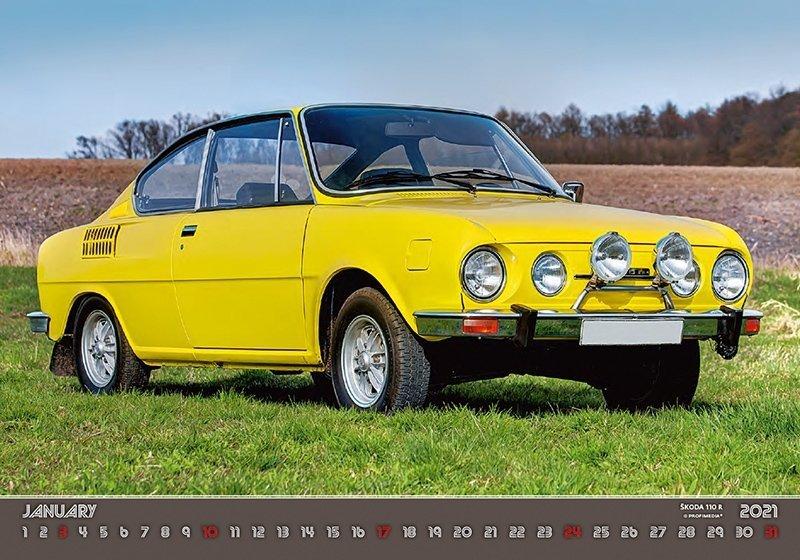 Kalendarz ścienny wieloplanszowy Retro Cars 2021 - styczeń 2021