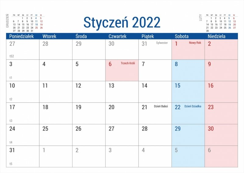 Kalendarz biurkowy stojący na podstawce PLANO 2022 szary