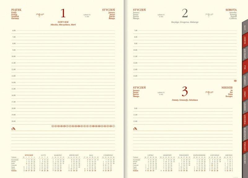 Kalendarz książkowy na rok 2021 B5 dzienny papier chamois wycinane registry