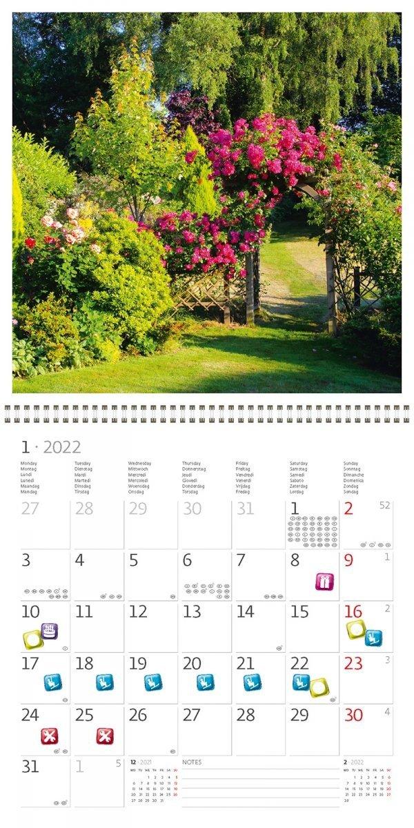 Kalendarz ścienny wieloplanszowy Gardens 2022 z naklejkami - styczeń 2022