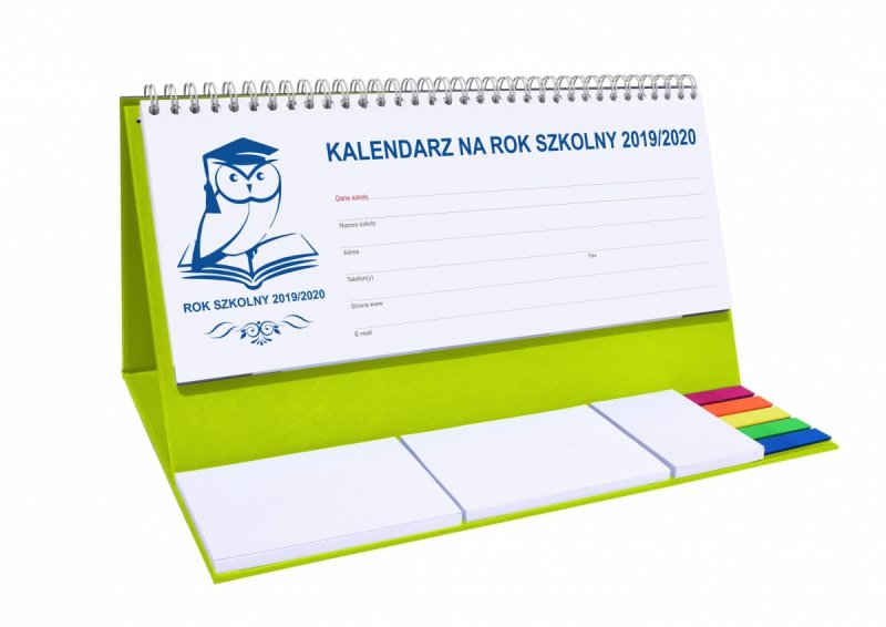 Kalendarz biurkowy EXCLUSIVE PLUS na rok szkolny 2019/2020 - seledynowy