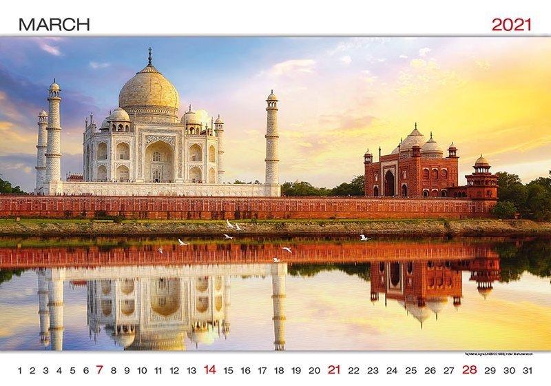 Kalendarz ścienny wieloplanszowy World Wonders 2021 - marzec 2021