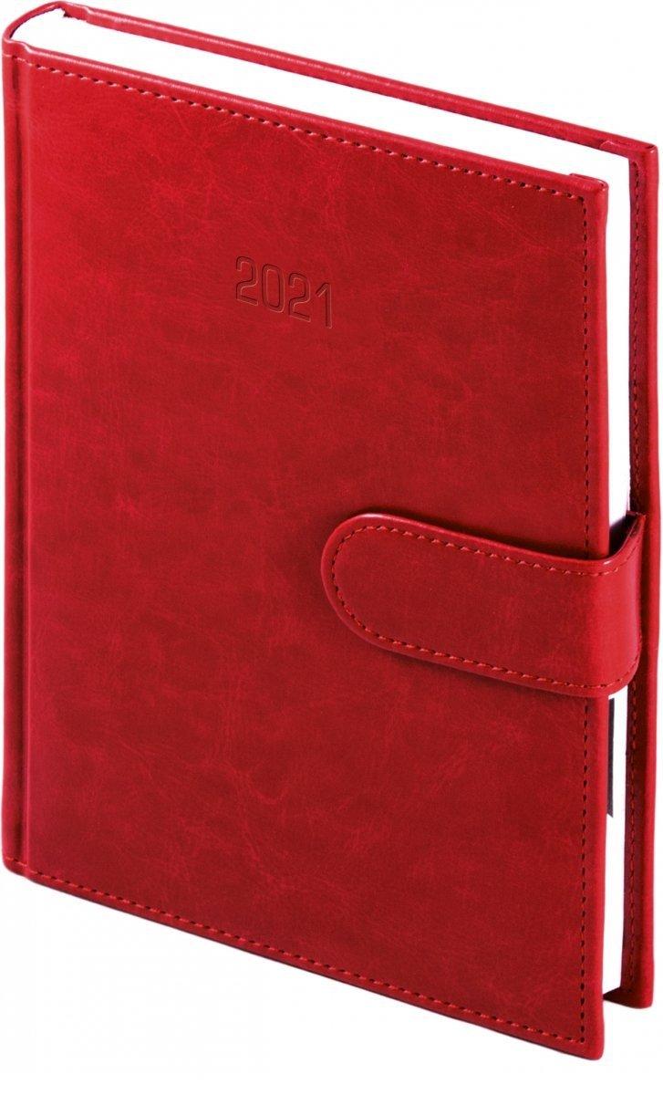 Kalendarz książkowy 2021 A4 dzienny oprawa MAGNESIAN - czerwony oprawa skóropodobna zamykana na magnes