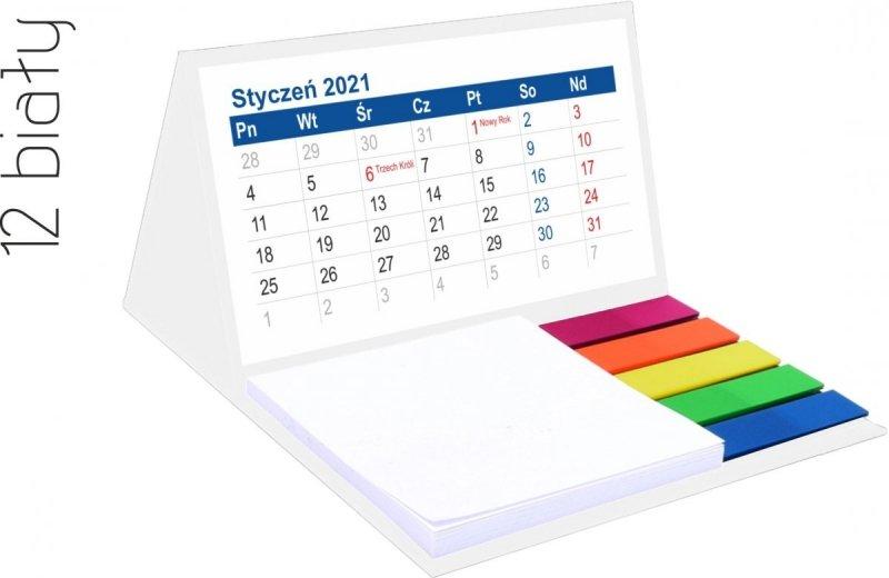 Kalendarz biurkowy z notesem i znacznikami MINI 2021 biały