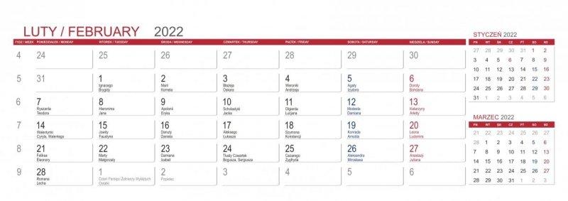Kalendarz biurkowy z notesami i znacznikami MAXI 2022 szary