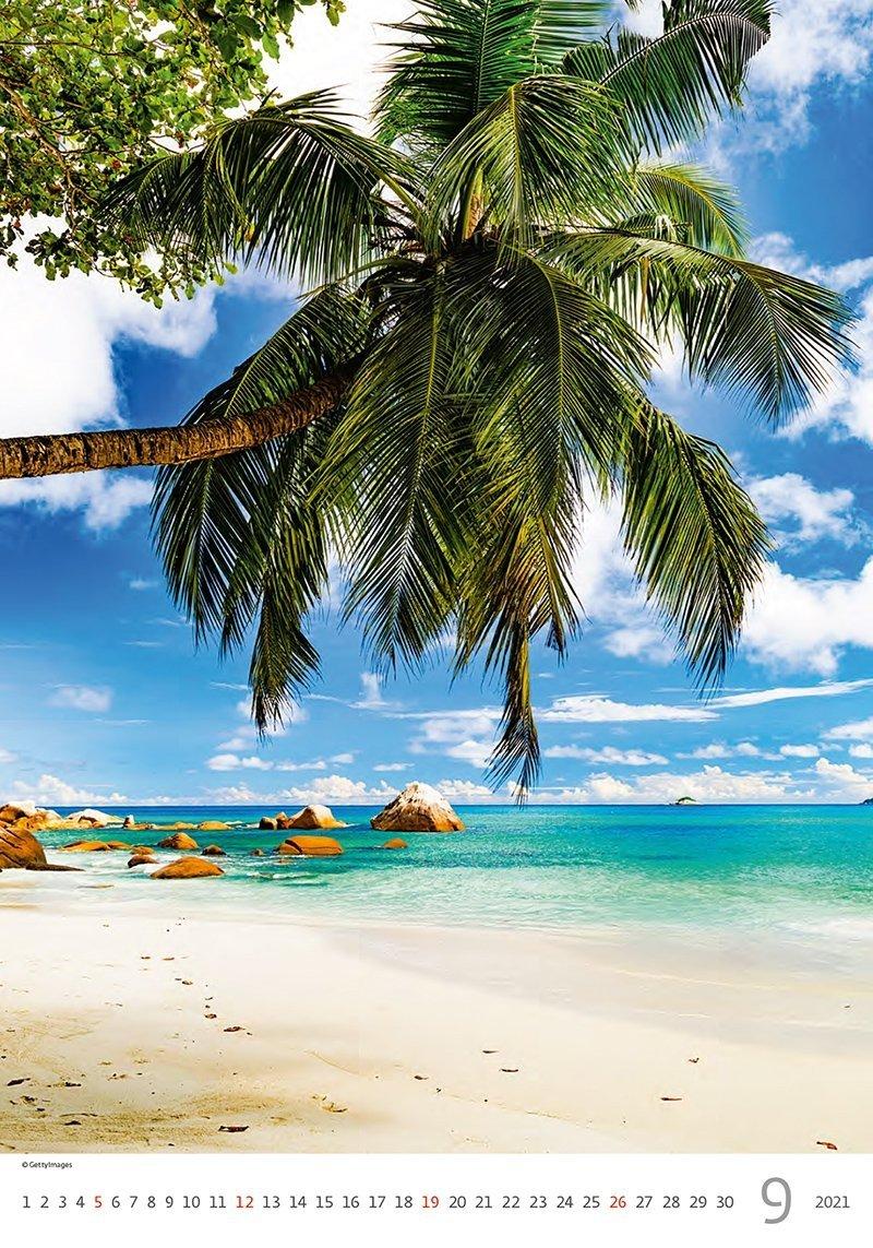 Kalendarz ścienny wieloplanszowy Tropical Beaches 2021 - wrzesień 2021