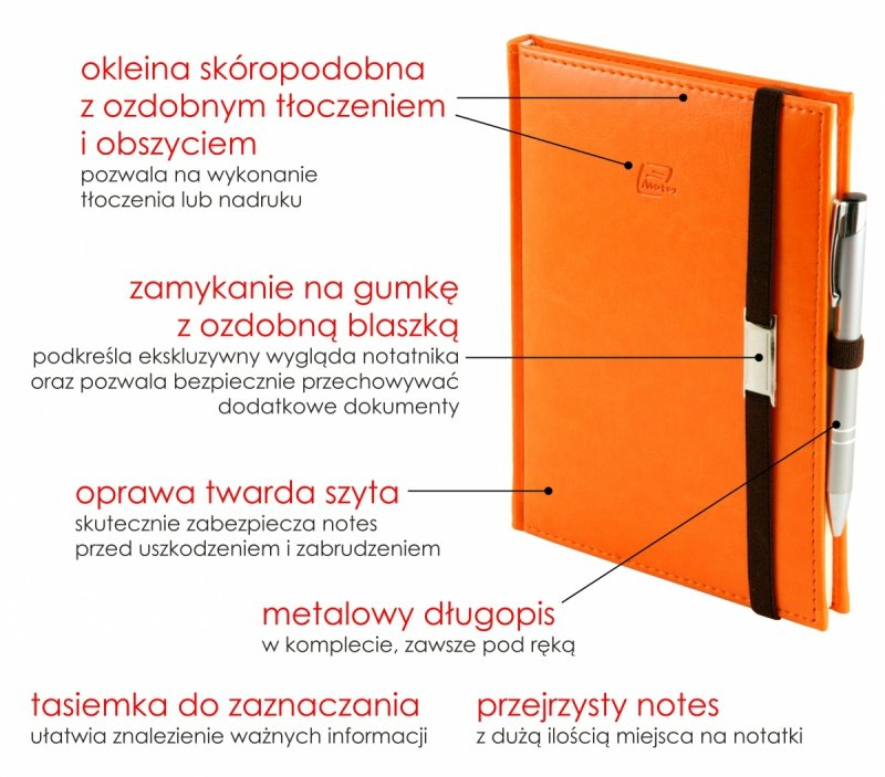 Notes A5 z długopisem w skóropodobnej okleinie z ozdobnym tłoczeniem