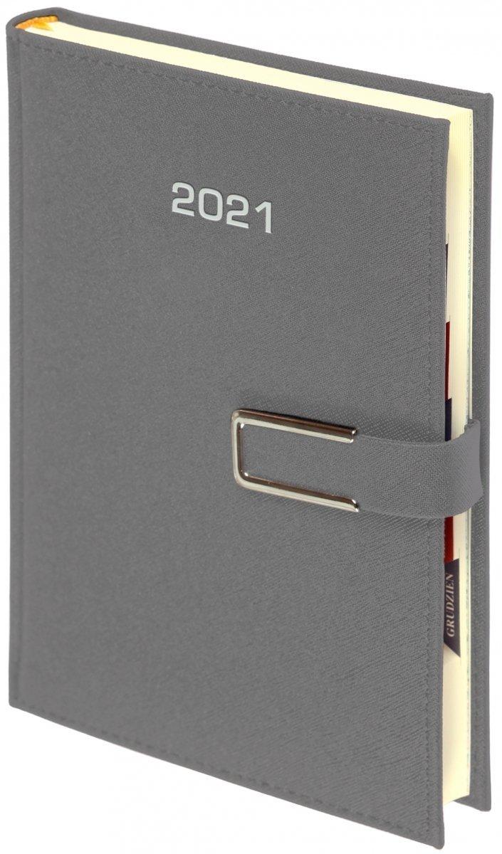 Kalendarz książkowy 2021 A4 tygodniowy oprawa ROSSA CHROMO szara - oprawa zamykana na magnes