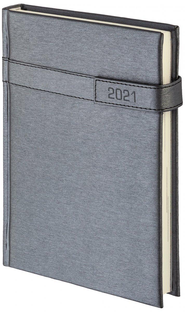 Kalendarz książkowy 2021 B5 dzienny oprawa ALU na magnes srebrny