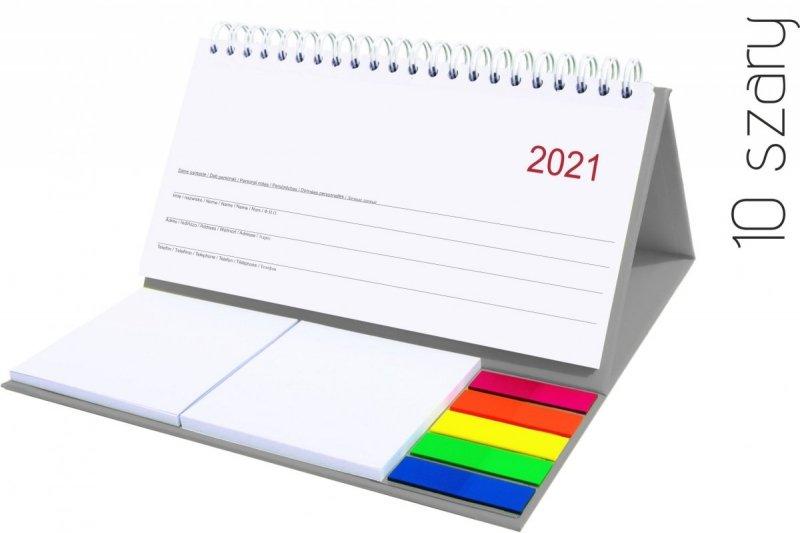 Kalendarz biurkowy z notesami i znacznikami MIDI TYGODNIOWY 2021 szary