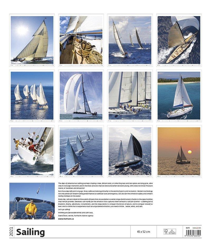 Kalendarz ścienny wieloplanszowy Sailing 2021 - exclusive edition - tylna okładka