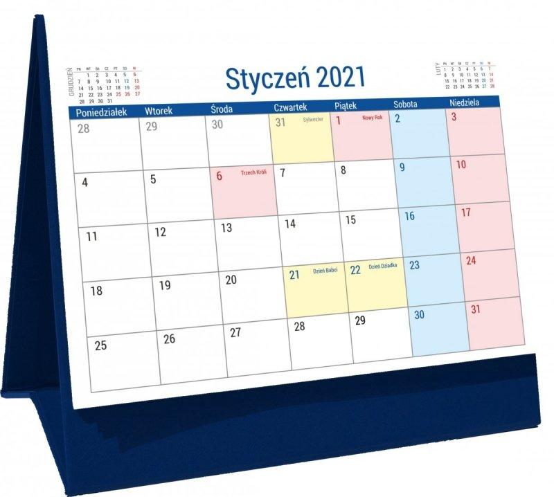 Kalendarz biurkowy stojący na podstawce PLANO 2021 granatowy