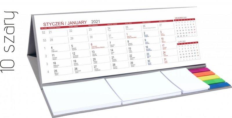 Kalendarz biurkowy z notesami i znacznikami MAXI 2021 szary