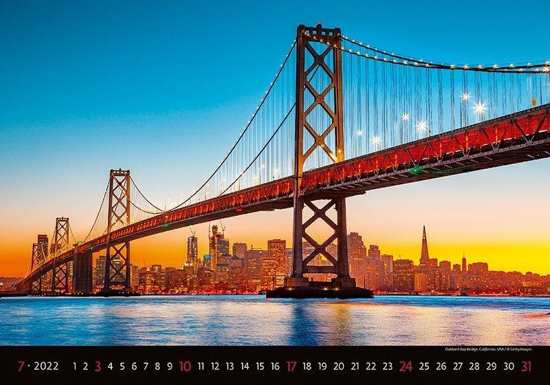 Kalendarz ścienny wieloplanszowy Bridges 2022 - lipiec 2022