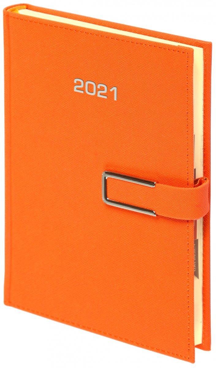 Kalendarz książkowy 2021 A4 dzienny oprawa ROSSA CHROMO pomarańczowa - oprawa zamykana na magnes