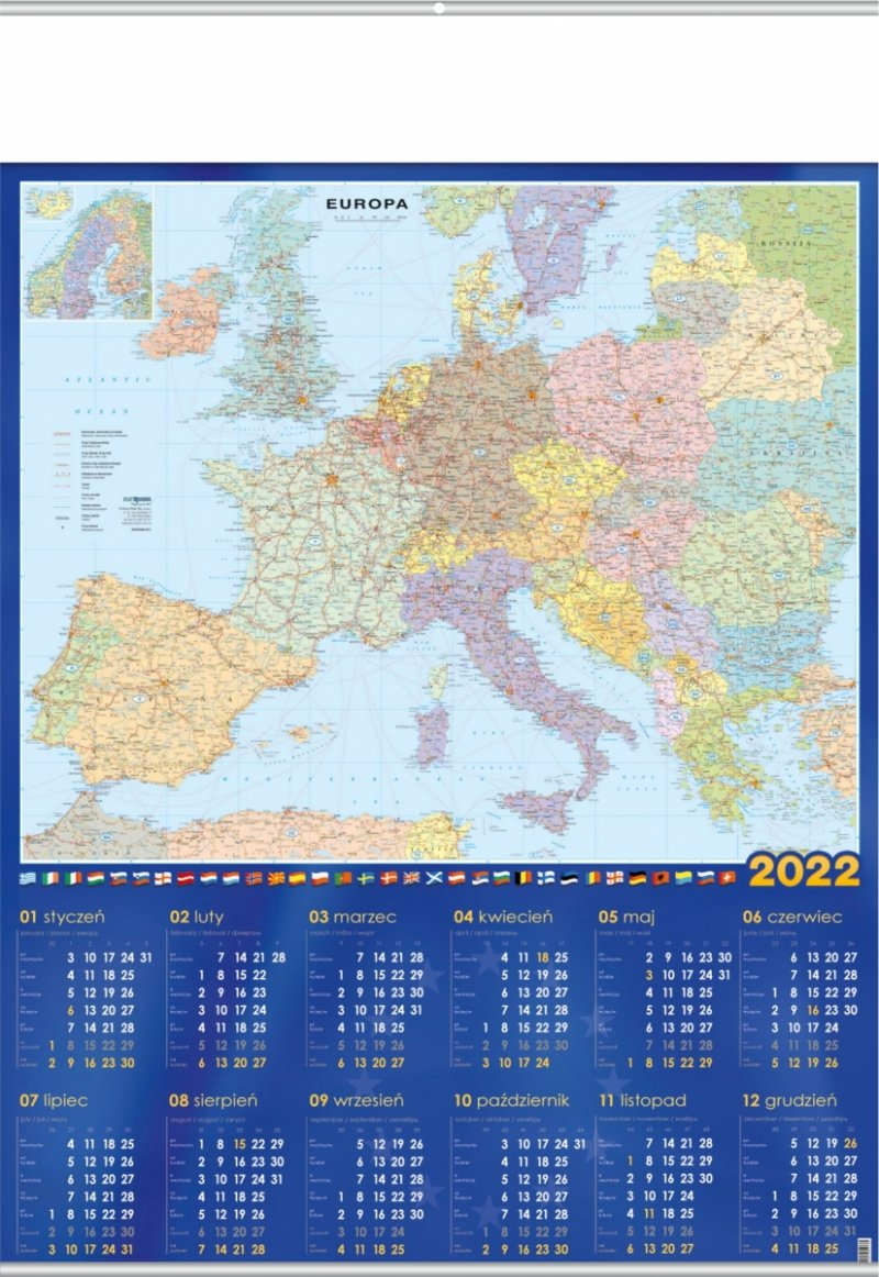 Kalendarz plakatowy B1/01 MAPA EUROPY 2022 z listwami srebrnymi