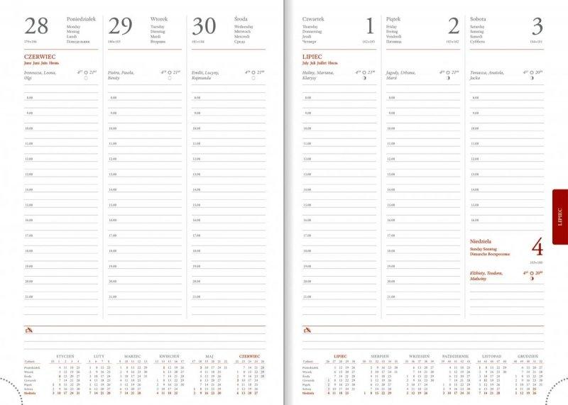 Kalendarz książkowy 2021 B5 tygodniowy papier biały drukowane registry