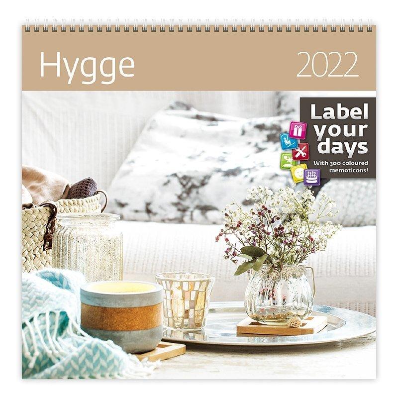 Kalendarz ścienny wieloplanszowy Hygge 2022 z naklejkami - okładka
