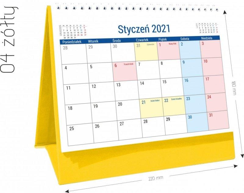 Kalendarz biurkowy stojący na podstawce PLANO 2021 żółty 04