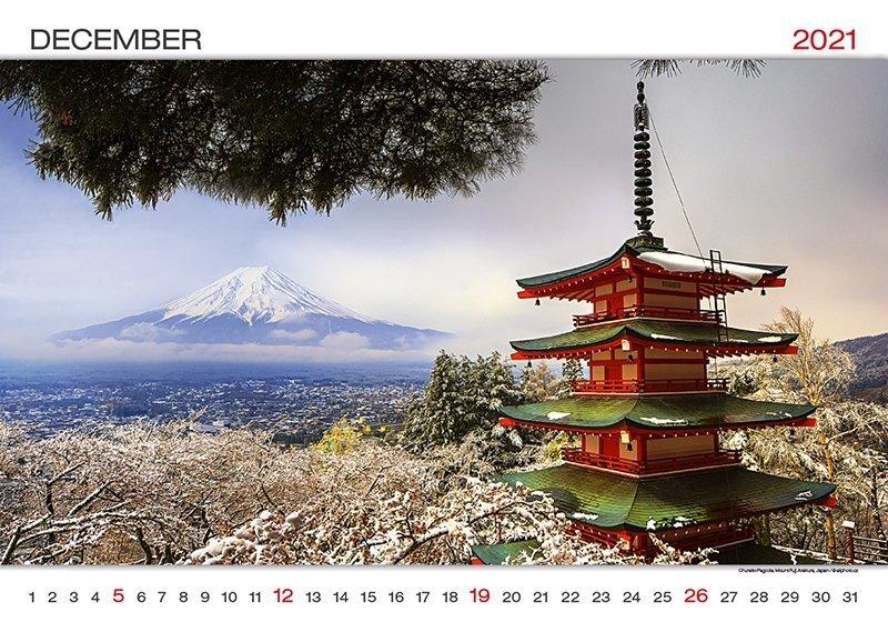 Kalendarz ścienny wieloplanszowy World Wonders 2021 - grudzień 2021