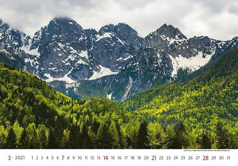 Kalendarz ścienny wieloplanszowy National Parks 2021 - marzec 2021