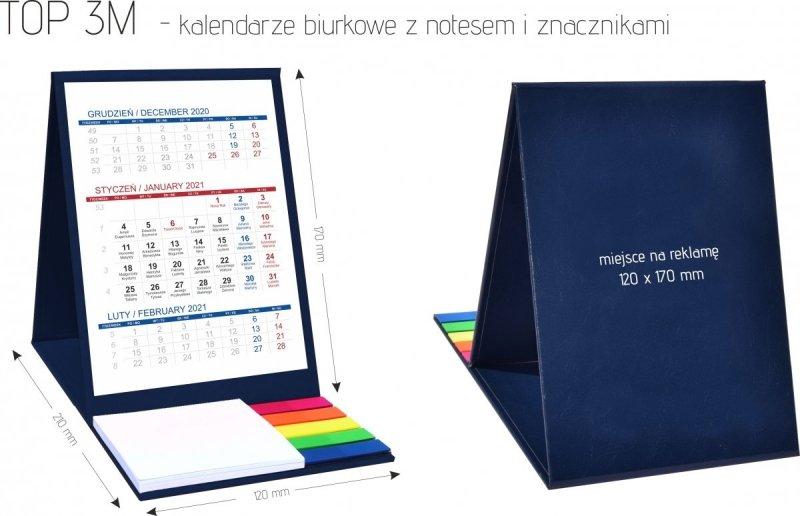 Wymiary kalendarza biurkowego z notesem i znacznikami TOP 3-miesięczny 2021 szary