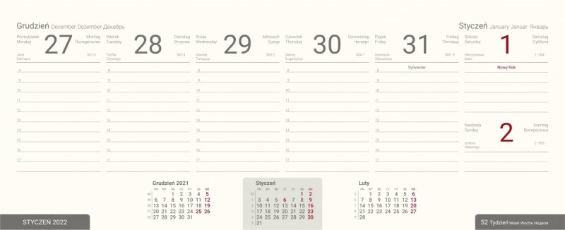Kalendarium tygodniowe kalendarza biurkowego na rok szkolny 2021/2022