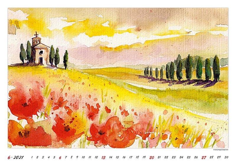 Kalendarz ścienny wieloplanszowy Watercolour Scenery 2021 - czerwiec 2021