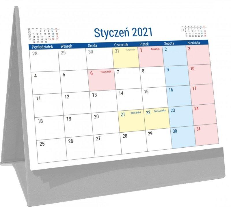 Kalendarz biurkowy stojący na podstawce PLANO 2021 szary