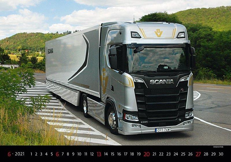 Kalendarz ścienny wieloplanszowy Trucks 2021 - czerwiec 2021