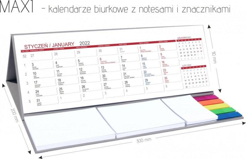 Kalendarz biurkowy z notesami i znacznikami na rok 2022 MAXI wymiary podstawki