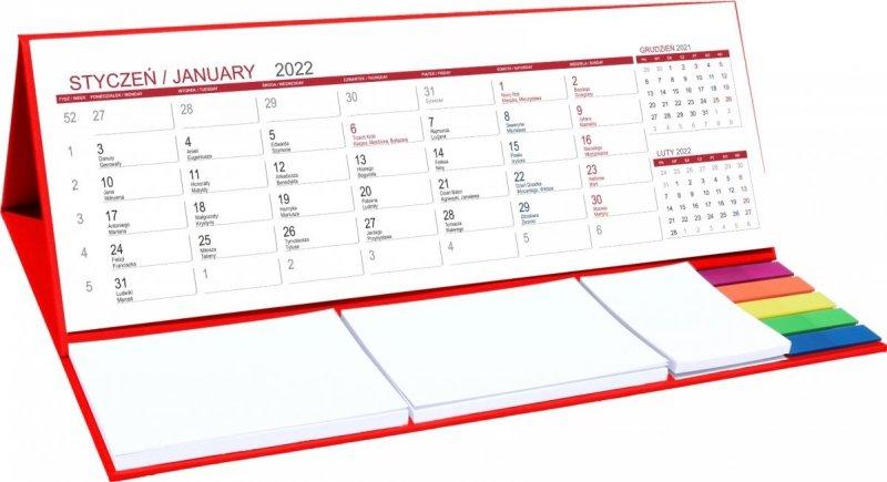 Kalendarz biurkowy z notesami i znacznikami MAXI 2022 czerwony