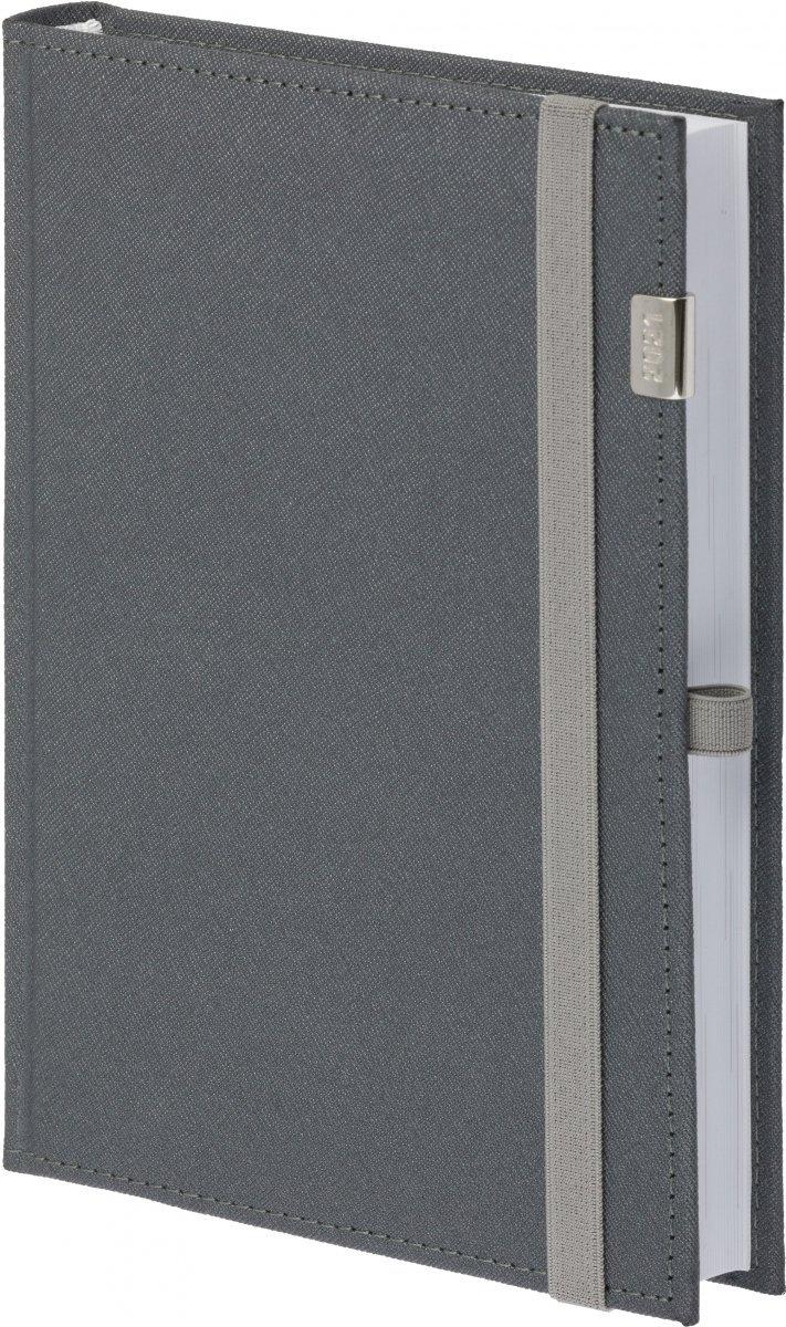Kalendarz książkowy 2021 B5 tygodniowy oprawa zamykana na gumkę Rossa z metalową datą - kolor szary