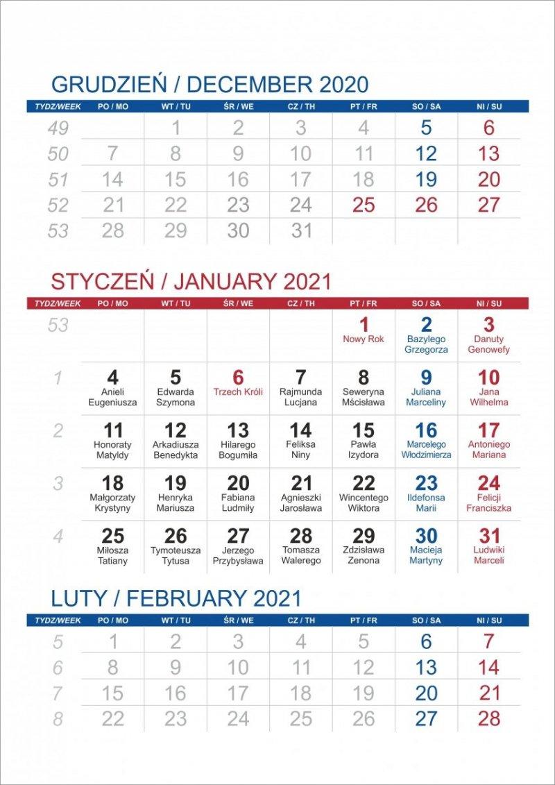Kalendarium 3 miesięczne 2021